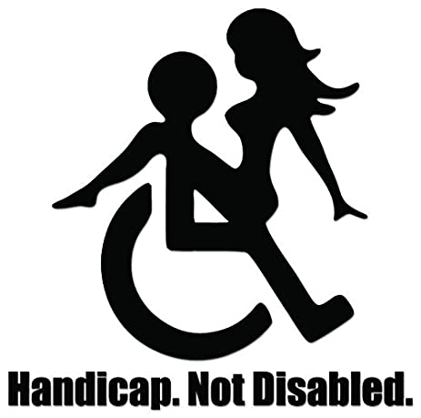 Handicap not disabled funny sex vinyl decal sticker for vehicle car truck window bumper wall decor