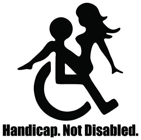 Handicap not disabled funny sex vinyl decal sticker for vehicle car truck window bumper wall decor