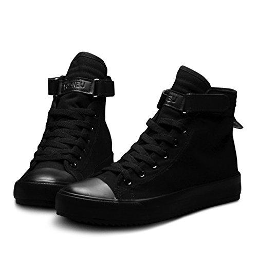 New Spring/Summer Casual Shoes Breathable Black High-top Lace-up Canvas Espadrilles 2018 Fashion White Men Flat Shoes (Women 10 / Men 8.5 → EUR 42, Black)
