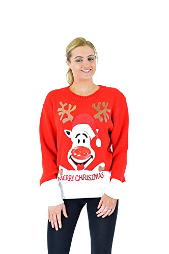 Women Ladies Flashing Sound 3D Novelty Christmas Printed Rudolph Star Angle Knitted Jumper Top (Flashing Christmas Jumper)