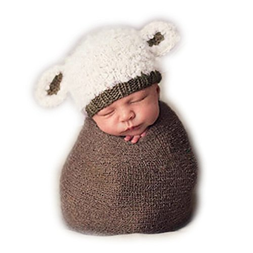 [Fashion Cute Newborn Boy Girl Baby Costume Knitted Photography Props Lamb Hat] (Lamb Costumes For Toddler)