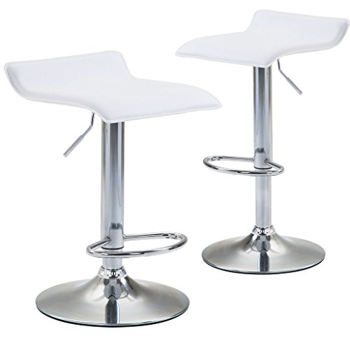 Chiming Backless Swivel Bar Stools Height Adjustable PU Leather Kitchen Dining Chair, Set Of 2, White - Backless Chrome Swivel Bar Stool