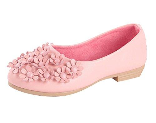 Brinny Mode Mädchen Ballerina Halbschuhe kleine Blumen Erbsenschuhe weichen Sohlen Prinzessin Partei Schuhe Pink