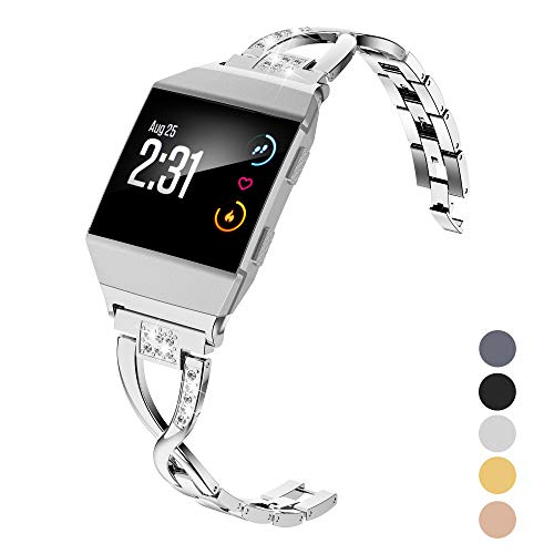 Wearlizer Bling Band Compatible Fitbit Ionic Bands Women, Stainless Steel Bling Replacement Band Bracelet with Diamond Rhinestones X-Link Compatible Fitbit Ionic Small Large