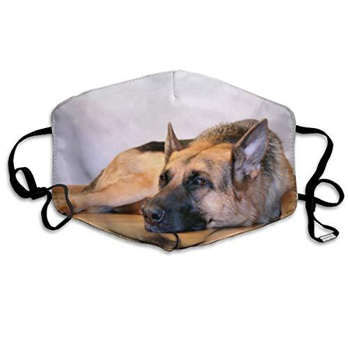 Face Masks, Breathable Dust Filter Masks Medical Mask Mouth Cover Masks with Elastic Ear Loop (Vintage German Shepherd Dog Printed) White
