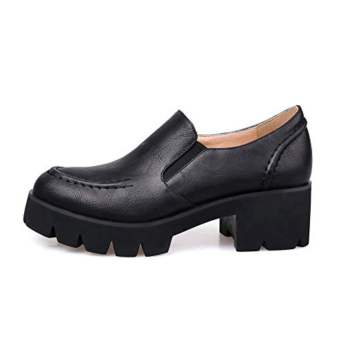BalaMasa Pleated Shoes Black Platform Solid APL10749 Urethane Pumps Womens rtnqRwFBr