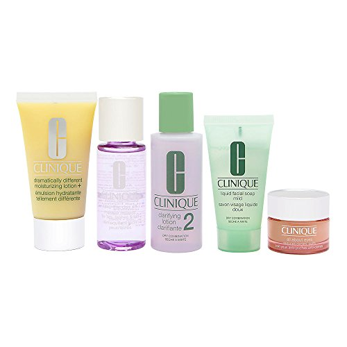 Daily Essentials Set - Dry Combination Skin by Clinique for Unisex - 5 Pc (Clinique Skin Care)