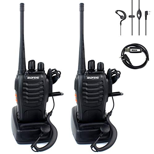 Two Way Radio with Built in LED Flashlight (Pack of 4) + USB Programming Cable (1PC) - Baofeng BF-888S