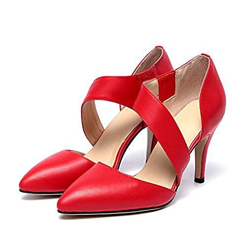 Balamasa Ladies Elastico Vuoto Scarpe Con Tacco A Ruota Vuote Pumps-shoes In Pelle Di Mucca Rosso