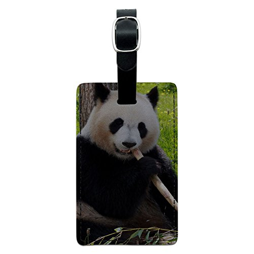 Graphics & More Panda Bear Endangered Leather Luggage Id Tag Suitcase Carry-on, Black