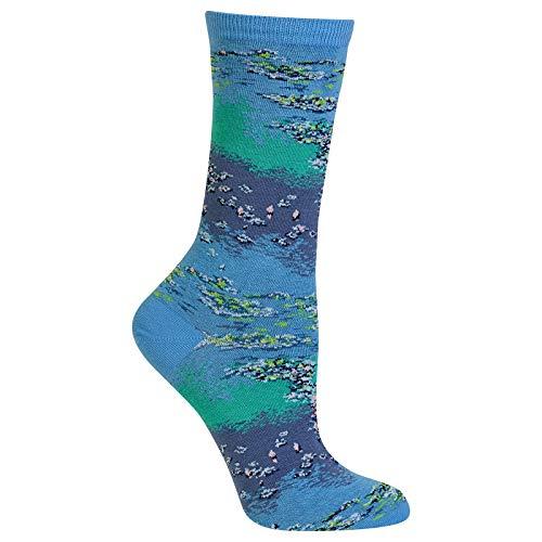(Hot Sox Monet Waterlillies Trouser Sock, sock size 9-11,Blue)
