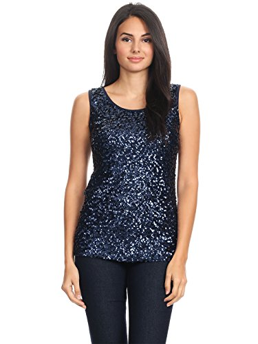 Anna-Kaci Womens Sparkle & Shine Glitter Sequin Embellished Sleeveless Round Neck Tank Top, Navy, Small