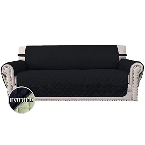Easy-Going Sofa Covers, Slipcovers, Reversible Quilted Furniture Protector, Improved Anti-Slip with Elastic Straps and Foams, Micro Fabric Couch Shield by (oversized sofa, black/beige)