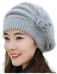 f2219e6782a EnjoCho Clearance Sale!Fashion Womens Flower Knit Crochet Beanie Hat Winter  Warm Cap Beret (