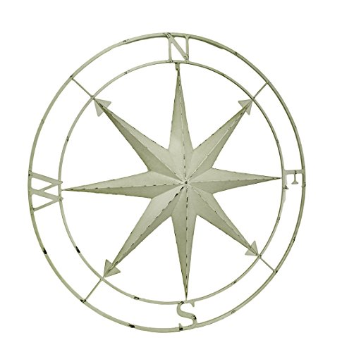 Compass Rose Lightly Distressed Metal Wall Hanging