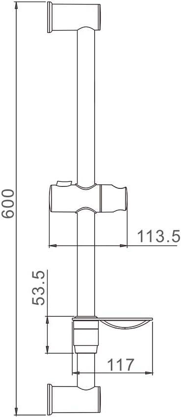 IBERGRIF M20802 Argent Barre de Douche 60 CM avec Porte-Savon Chrom/é
