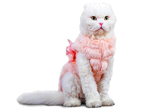 PLS Pet Halloween Faux Fur Pet Coat, Large, Winter Dog Coat, Dog Jacket, Dog Costume, Cat Costume, for Small Dogs or Cats, Cold Weather, Princess Costume for Halloween -