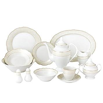 57 Piece Wavy Dinnerware Set-Porcelain China Service for 8 People-Tova  sc 1 st  Amazon.com & Amazon.com | 57 Piece Wavy Dinnerware Set-Porcelain China Service ...