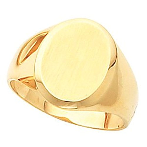 14K Yellow Gold Gents Signet Mounting With Brush Ring, Size: 10