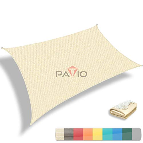 Patio Paradise 16 x 20 Tan Beige Sun Shade Sail Rectangle Canopy – Permeable UV Block Fabric Durable Patio Outdoor – Customized Available