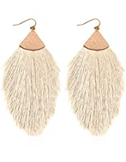 RIAH FASHION Bohemian Silky Thread Fan Tassel Statement Drop - Vintage Gold Feather Shape Strand Fringe Lightweight Hook/Acetate Dangles Earrings/Long Chain Necklace