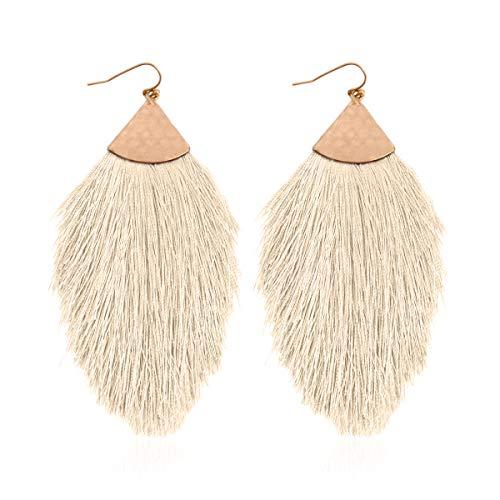 Antique Bohemian Silky Thread Fan Tassel Statement Drop - Vintage Gold Feather Shape Strand Fringe Lightweight Hook/Acetate Dangles Earrings/Long Chain Necklace (Earrings Feather Fringe - -