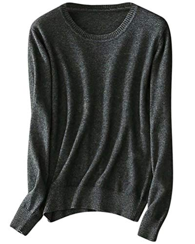 - Women's Long Sleeve Crewneck Plain Basic Cashmere Pullover Sweater Tops, Dark Grey, Tag S = US XS (2)