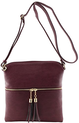 tassels amp;Joey and Burgundy strap shoulder with crossbody Amy size adjustable bag medium aq6Yywf
