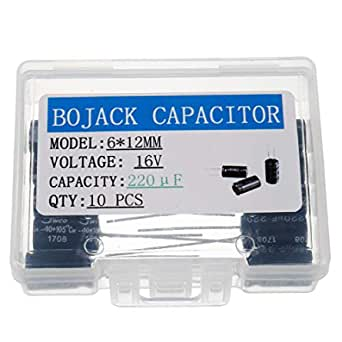 BOJACK 6X12mm 220uF 16V 220MFD 16Voltage ±20% Aluminum Electrolytic Capacitors(Pack of 10 Pcs)
