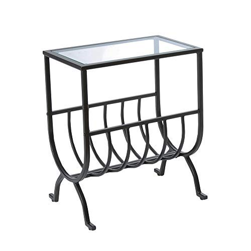 (Monarch Specialties Metal Magazine Table with Tempered Glass, Stardust Brown)