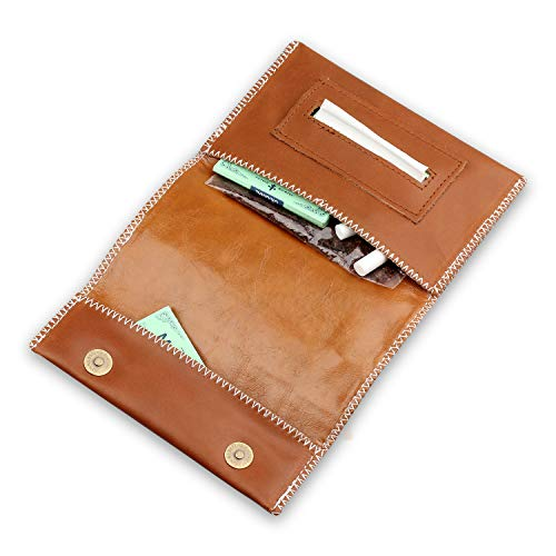 Genuine Leather Hookah Cigarette Tobacco Pouch Case Wallet Rolling Tip Paper Holder Slot (brown-A)