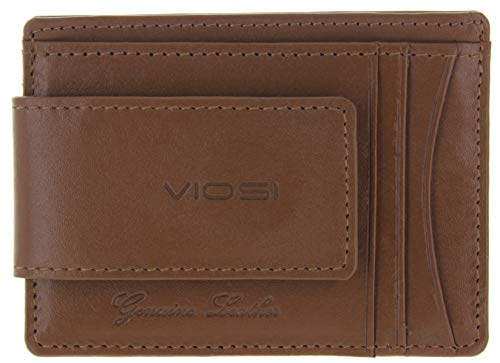 Viosi RFID Men's Leather Magnetic Front Pocket Money Clip Wallet (Mocha)