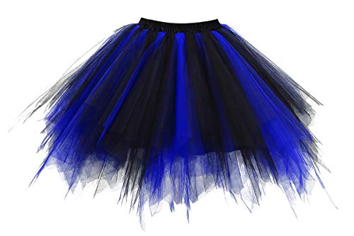 Musever 1950s Vintage Ballet Bubble Skirt Tulle Petticoat Puffy Tutu Black/Blue Large/X-Large -