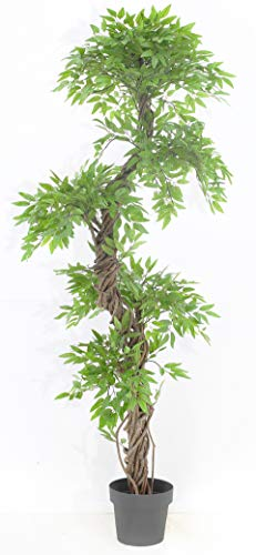 Chic Oriental Indoor/Outdoor Quality Faux Japanese Spiral Tree, Artificial Plants and Trees, Handmade Using Real Bark & Synthetic Leaves - Approx. 162cm Tall