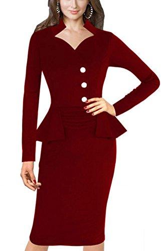 Falso 2 de las mujeres pedazos oficina vestido Bodycon Vestido Winered