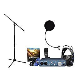 PreSonus AudioBox iTwo Studio Interface, W/ HD7 Headphones, M7 Microphones, Studio One Artist, Windpop w/ Microphone Stand