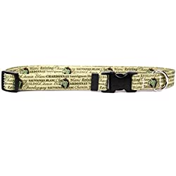 """Yellow Dog Design White Wine Dog Collar with Tag-A-Long ID Tag System-Small-3/4 Wide and fits Neck 10 to 14"""""""