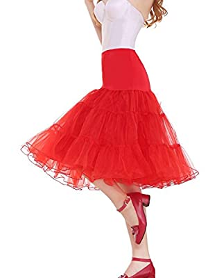 "Manfei Women's Vintage 50s Rockabilly Skirt 25"" Length Petticoat Crinoline(FBA)"