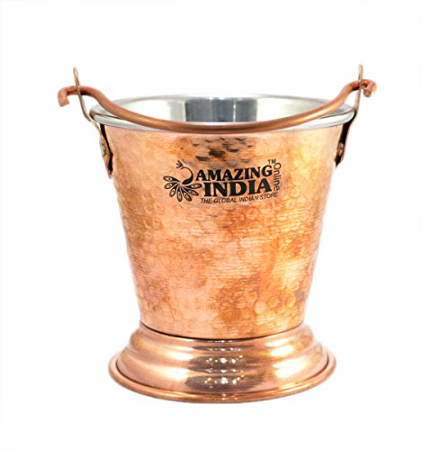 Amazing India Hand Handmade Hammered Copper Steel /Copper Gravy Bucket/Balti For Serving Dishes (India Gravy)