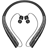 Bluetooth Headphones, Bluenin Wireless Neckband Headset with Retractable Earbuds, Sport Sweatproof Stereo Earphones with Mic (15 Hrs Playtime,CVC 6.0 Noise Cancelling) (Matte Black)