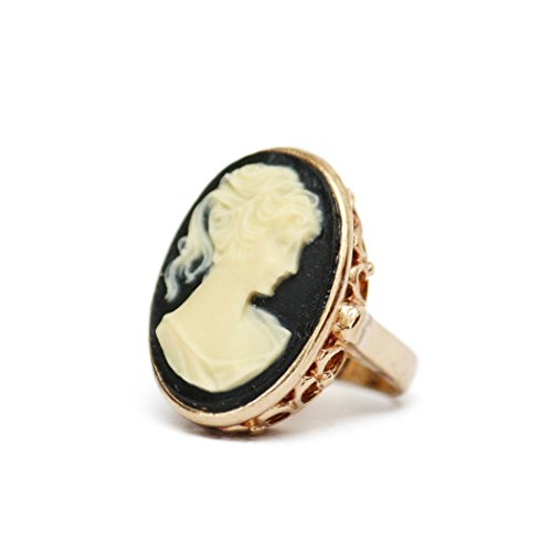 - Providence Vintage Jewelry 1970's Big White on Black Cameo Ring 18k Gold Electroplated