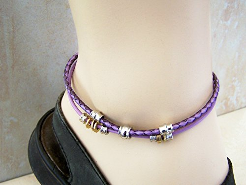 Purple Anklet For Teen Girls, Braided Leather, Handmade Ankle Bracelet, Birthday Gift, Anklet for Her, Gift for Him/ Mother's Day