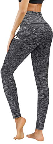 PHISOCKAT High Waist Yoga Pants with Pockets, Tummy Control Yoga Pants for Women, Workout 4 Way Stretch Yoga Leggings (Space Dye Black,XX-Large)