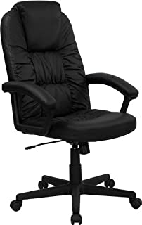 Flash Furniture High Back Black Leather Executive Swivel Chair With Arms