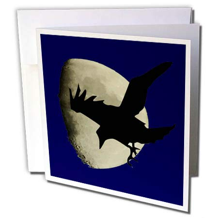 3dRose Taiche - Vector - Halloween Ravens - Raven Flying Across The Moon - 12 Greeting Cards with envelopes (gc_269737_2) -