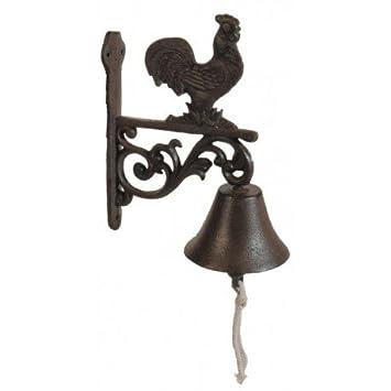 Antic Line – Campana de hierro fundido para puerta con gallo: Amazon.es: Jardín