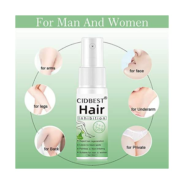 Hair Inhibitor, Hair Stop Growth Spray, Hair Removal Spray, Painless Hair Removal Inhibitor, for Face, Arm, Leg, Armpit, PermanentHairRemoval