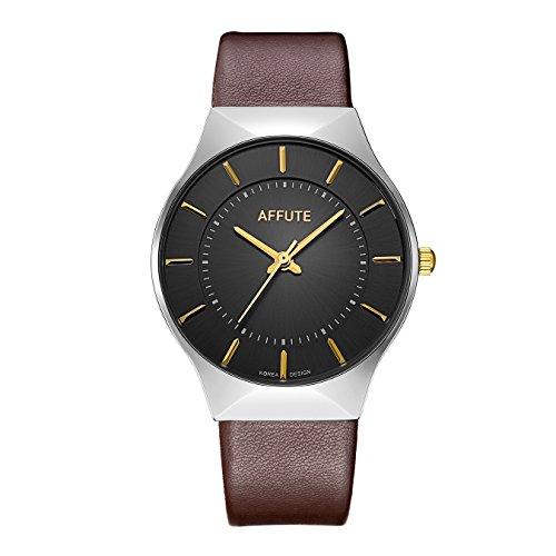 Tamlee Fashion Men's Quartz Wristwatch with Leather Strap Silver White Ultra Thin Case Waterproof