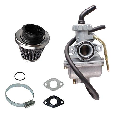 (AnTo PZ20 20mm ATV Carburetor Carb with 35mm Air Filter Intake Gaskets for 50cc 70cc 80cc 90cc 110cc 125cc Taotao Go karts Moped Scooter NST SunL Kazuma Baja)