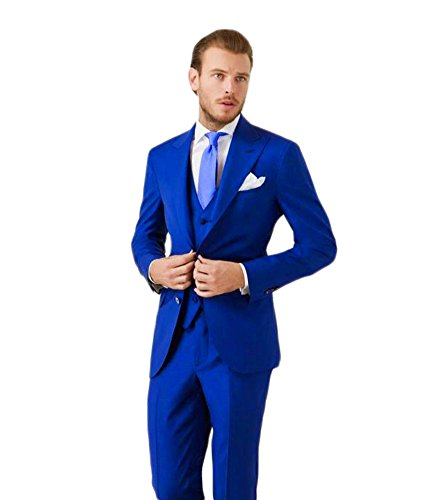 Ak Beauty Men's 3 Piece Two Button Royal Blue Suit (jacket+pants+vest)